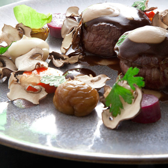 Peppered Sika Venison loin with cep puree and root vegetables (Credit: Chapter One)