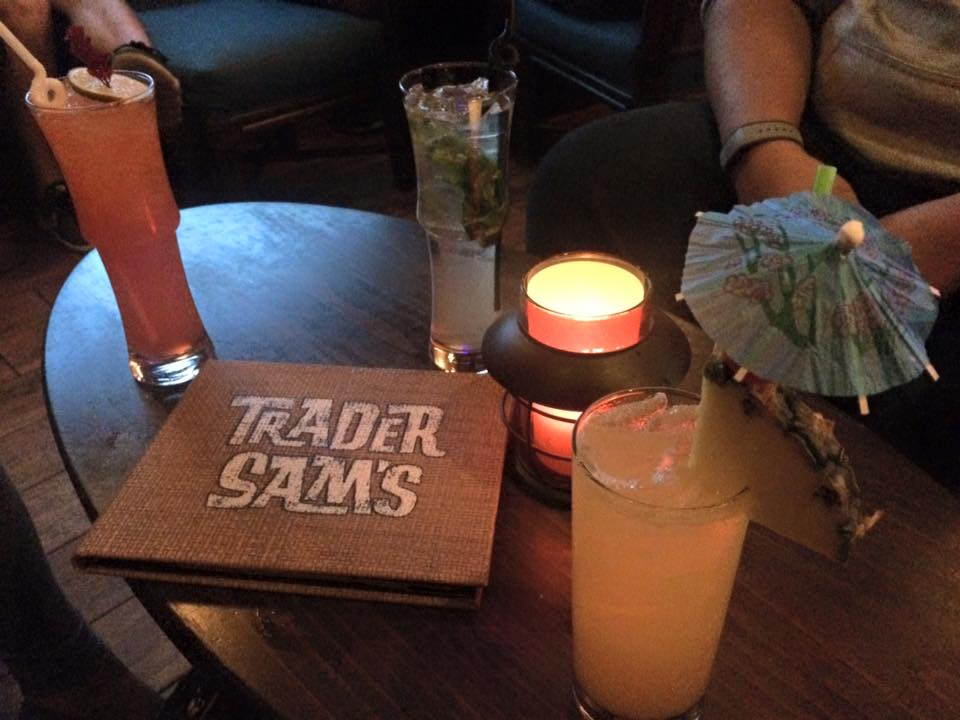 Menu and drinks at Trader Sams