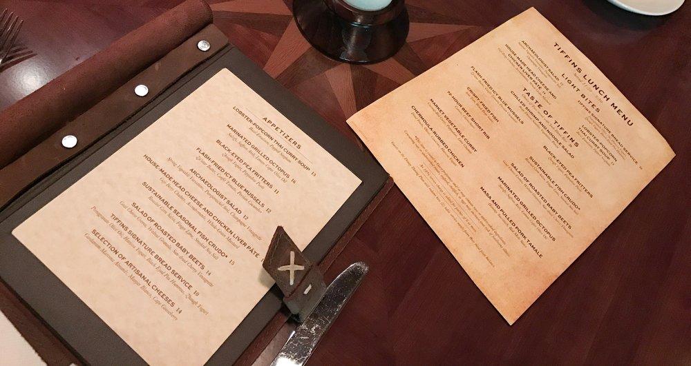 Menu and lunch menu on top