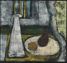 """Anne Ryan Fruit on a White Plate, ca. 1945. 17"""" x 17"""", edition of 30. Here is a link to a NYT article about her work."""
