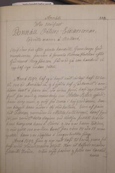 Lbs 2294 4to. Itook this picturein 2014 during my visit to the manuscript collection at the National Library of Iceland.