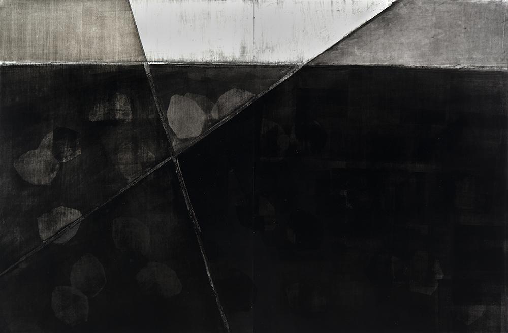 "Volcanos intersecting underground 25"" x 38"" acrylic and graphite on polypropylene"