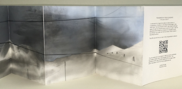 "A Transmission from Svalbard in the year 002017.  Unique artist's book, 9"" x 7"" closed, 9"" x 112"" extended. Acrylic and graphite on Yupo, 2017."