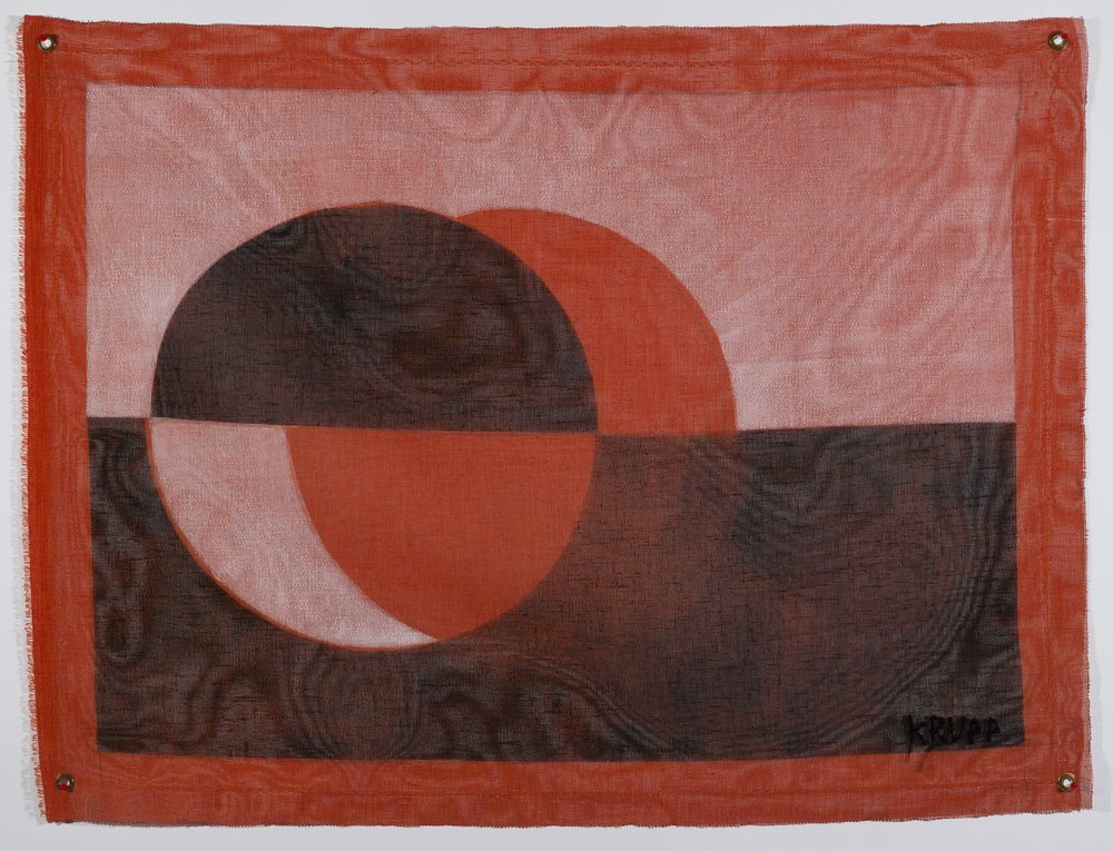 Shift, or, New Greenlandic Flag – 18 x 25 – 2017 – acrylic, upcycled synthetic fabric