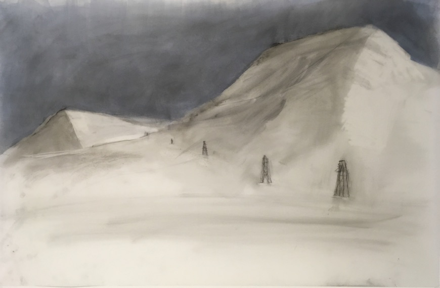 "Longyearbyen 2017 acrylic and graphite on Yupo 23"" x 38"""
