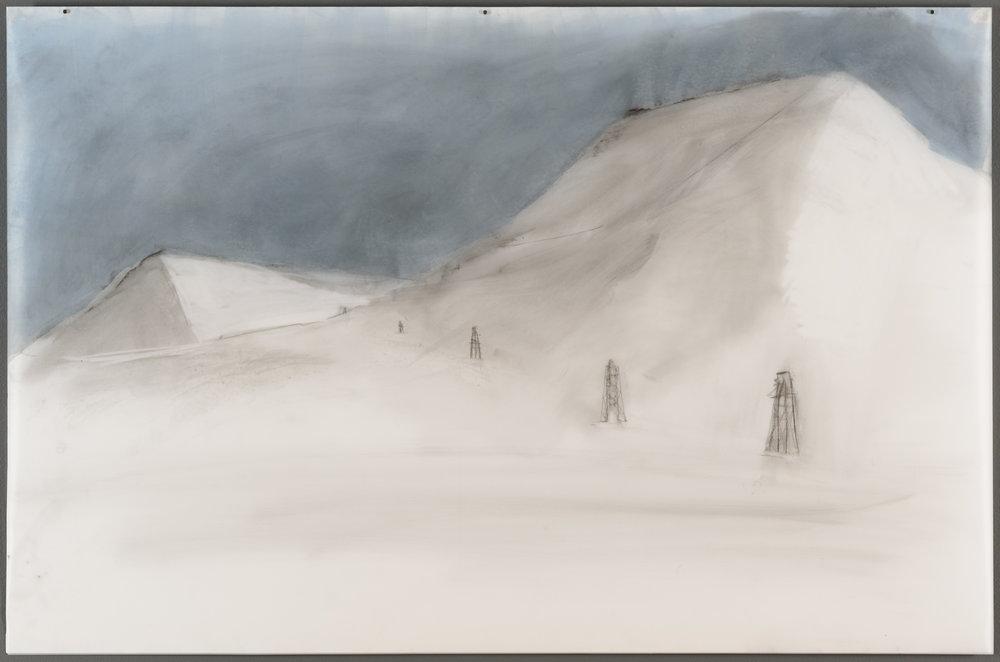 "Longyearbyen, Graphite, acrylic on translucent paper, 23""x 35"", 2017"