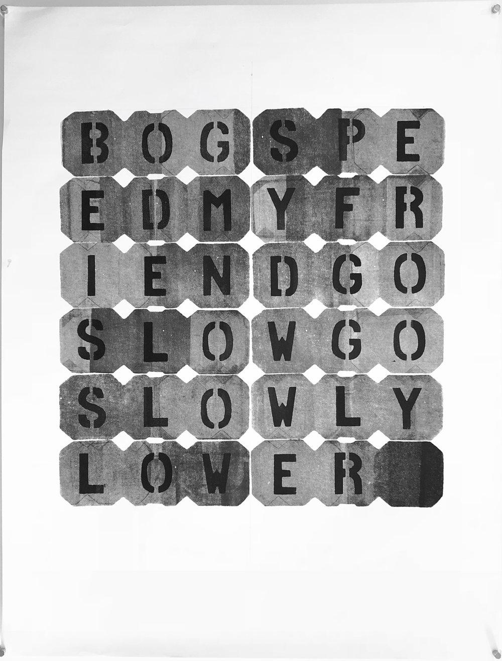 """BOGSPE - 2018, acrylic on paper, hand-cut stencil. 25"""" x 19"""""""