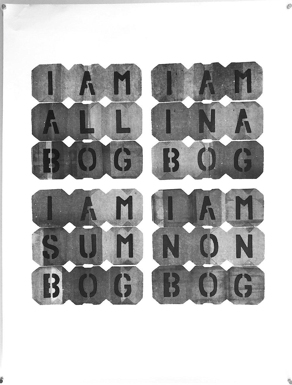 """IAMALLBOG - 2018, acrylic on paper, hand-cut stencil. 25"""" x 19"""""""