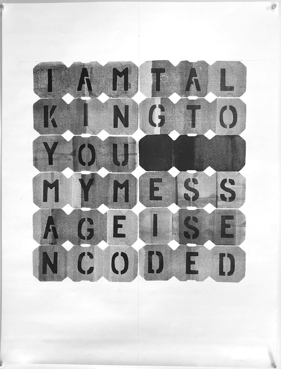 "IAMTAL - 2018, acrylic on paper, hand-cut stencil. 25"" x 19"""