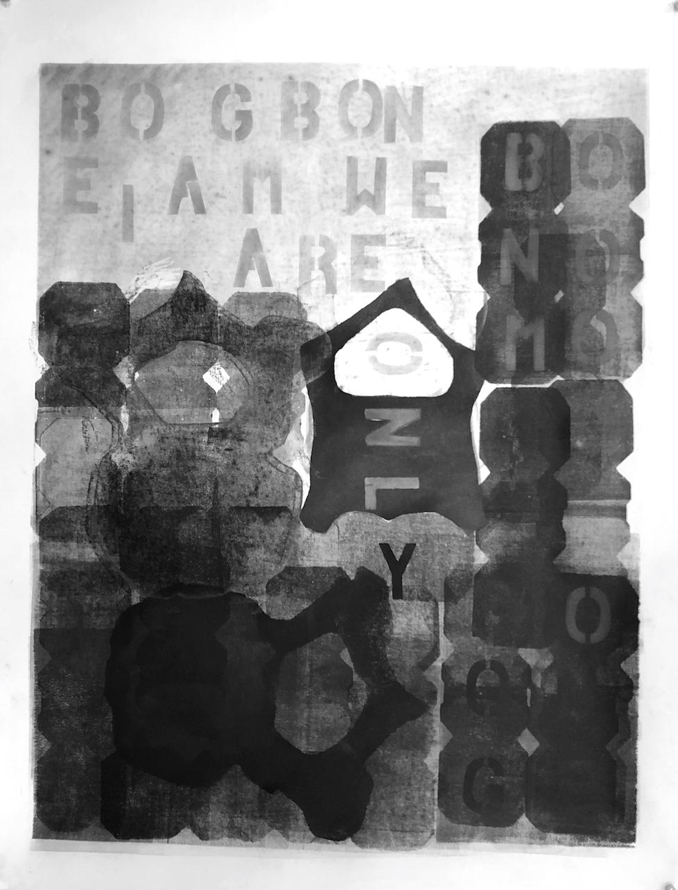"BOGBON- 2018, acrylic, graphite on paper, hand-cut stencil, drawing. 25"" x 19"""