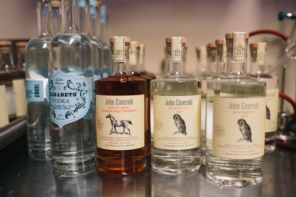 Opelika's John Emerald Distilling makes a variety of small-batch spirits, including vodka, gin, rum and single-malt whiskey, all of which bear labels proudly emblazoned with the town's name.