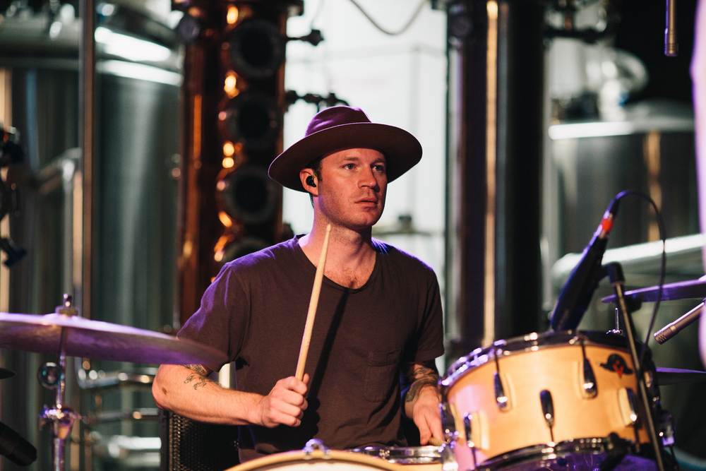 Delta Spirit drummer Brandon Young onstage at John Emerald Distilling.