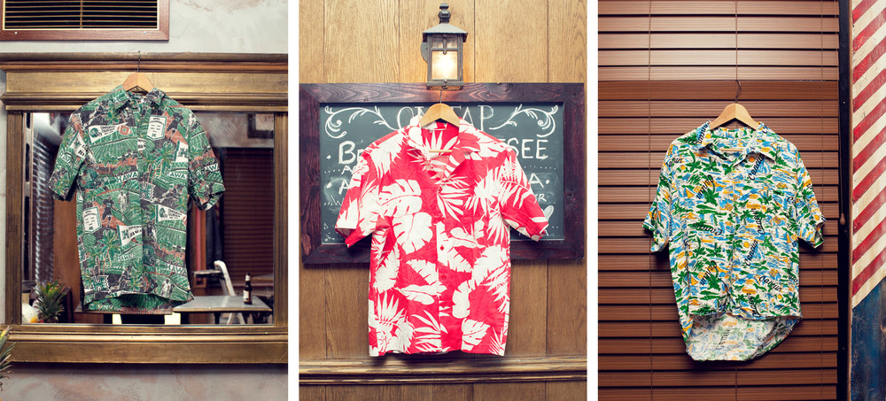 Selects from the collection. Far left: another Reyn Spooner in a vintage University of Hawaii print.