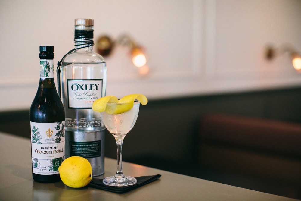 All the makings of a perfect gin martini.