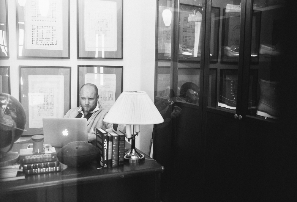 Kirk Stafford at work in his home office.