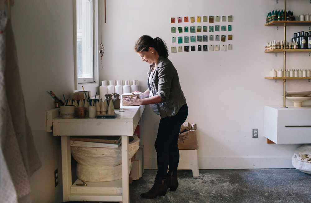 Potter Courtney Hamill At Work In Her Atlanta, Georgia Studio.