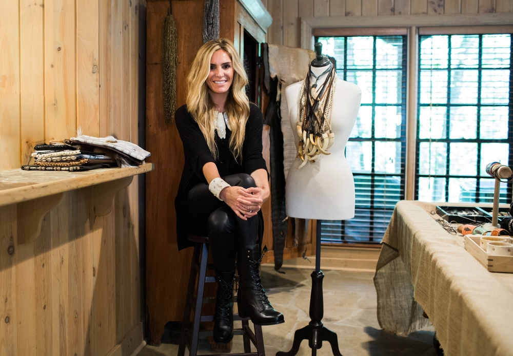 Sarah Hovis Olsen perched in her Atlanta showroom and studio space.