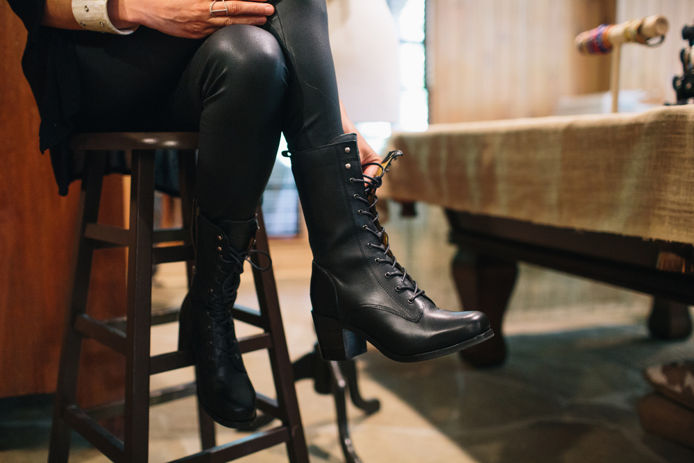 """My Fryes are perfect… fashion-forward, kind of edgy…. just like S. Carter Designs."" Boots: Kendall Lace-Up."
