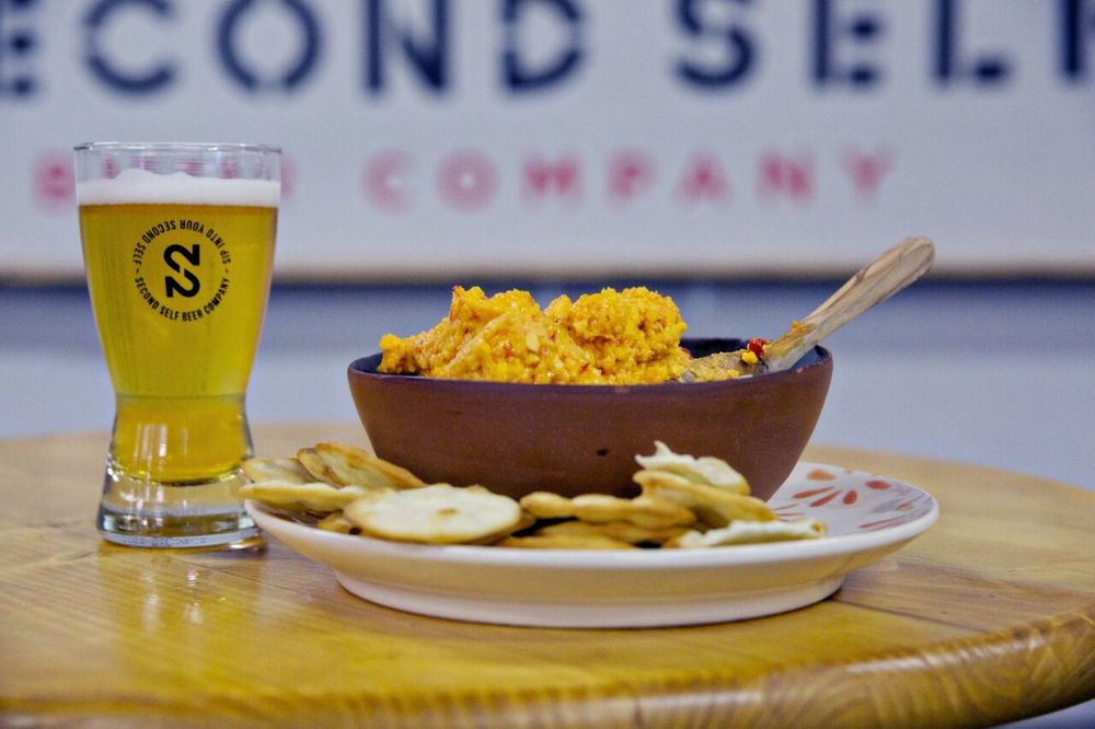 Classic Southern-style pimento cheese paired with Second Self Beer Company's Thai Wheat, which carries notes of lemongrass and ginger.