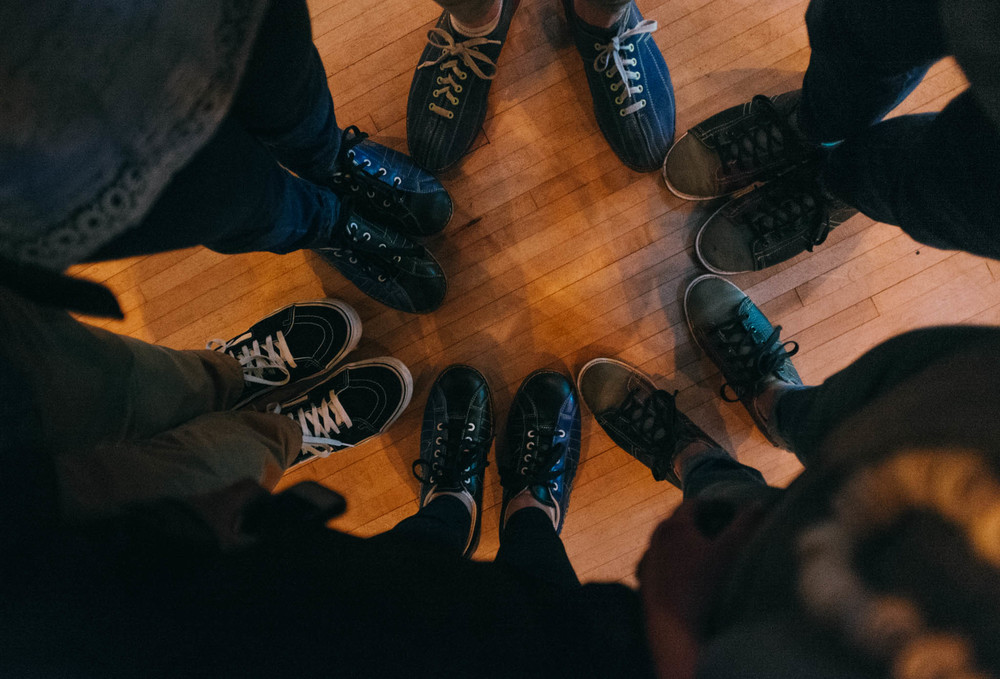 Shoe crew: Caroline, Cooper Samuels,  Anchorline 's Adria DeLaune,  Cause A Scene 's Larry Kloess, photographer/ Caroline's platonic life mate  Jamie Clayton , and myself.