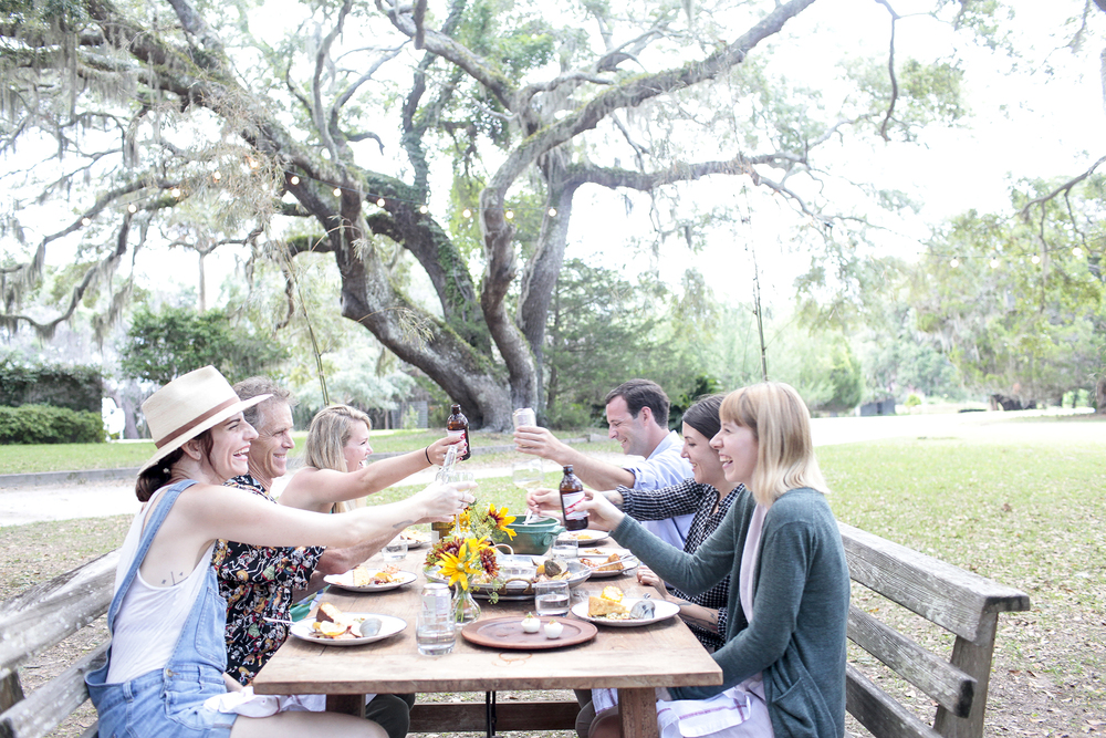 "Chef Whitney Otawka hosts a Lowcountry boil at The Greyfield Inn, as photographed for ""Marsh Mud and Sea Salt..."", August 2015. Photo: Emily B. Hall."