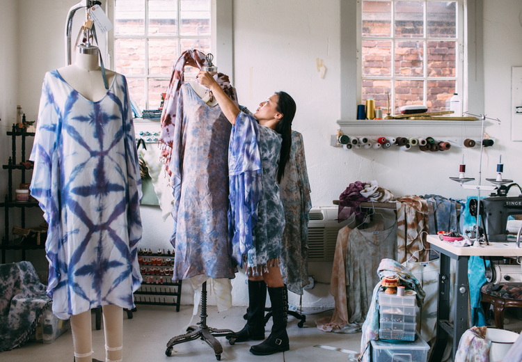 "Vena Kim among her hand-dyed silk kimonos in Atlanta, Georgia as photographed for ""Meet Our Makers"", October 2015. Photo: Caroline Fontenot."