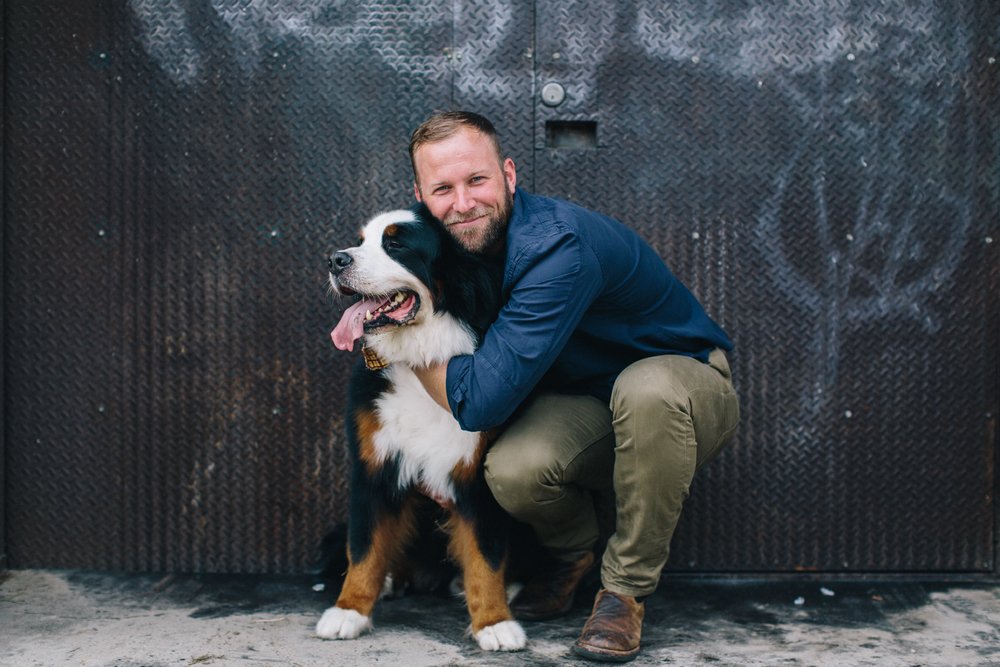 Former college and NFL quarterback; current owner of gusto! restaurant Nate Hybl with Buckley, as photographed for Southerners and Their Dogs, September 2015. Photo: Caroline Fontenot.