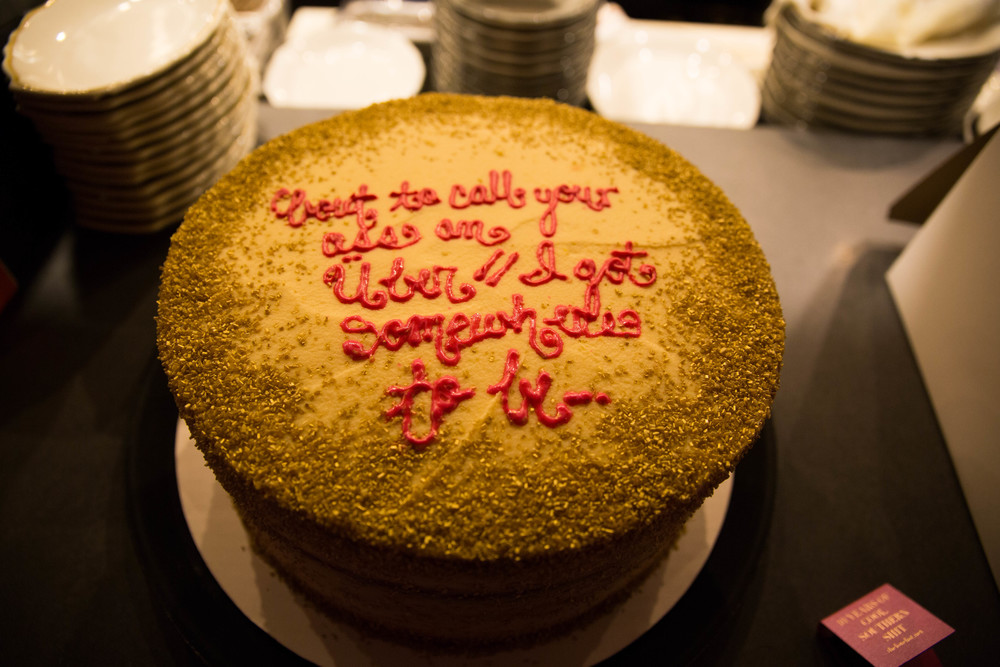 "Our gold-glittered, pink velvet ""Drake on Cake"" birthday cake. 'Bout to call your ass an Uber, I got somewhere to be."