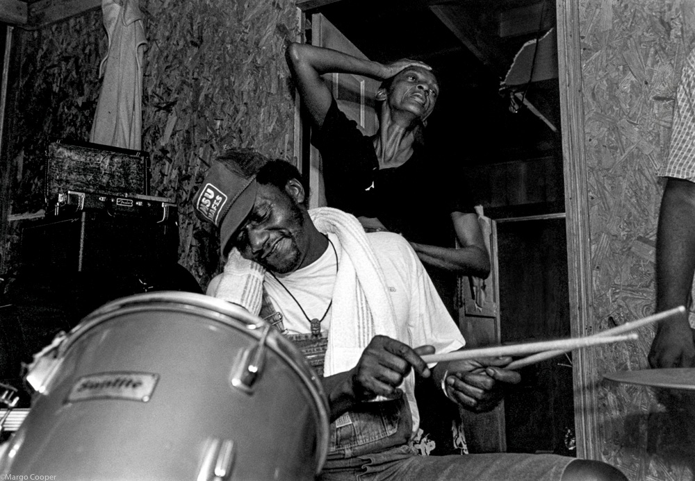 """ Calvin's Groove ,"" Calvin Jackson and Dancing Woman, Gravel Springs, Mississippi   © Margo Cooper  All Rights Reserved. No part of this website may be reproduced, stored in a retrieval system, or transmitted in any form without prior written permission."