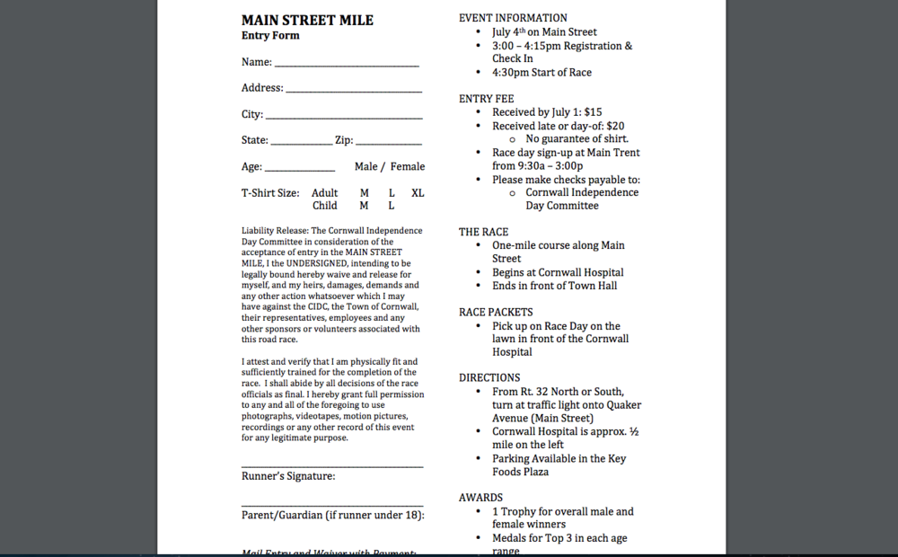 Main Street Mile Entry Form  -