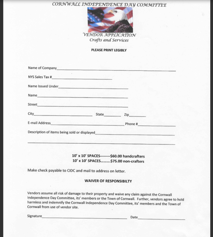 Craft Vendor Form (2 of 2) -