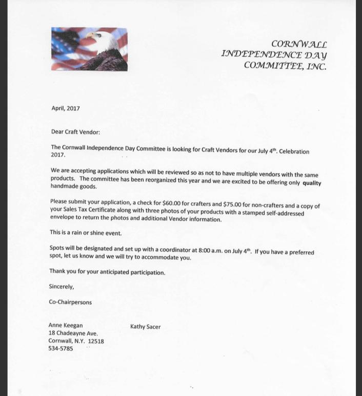 Craft Vendor Letter (1 of 2) -