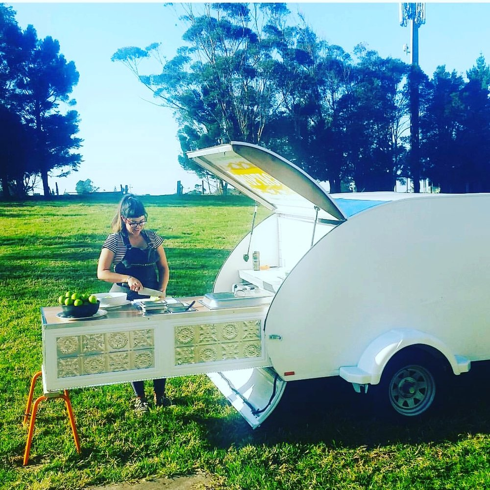 Our mobile 'Cocina' extends from the back of a 1950's honeymoon camper