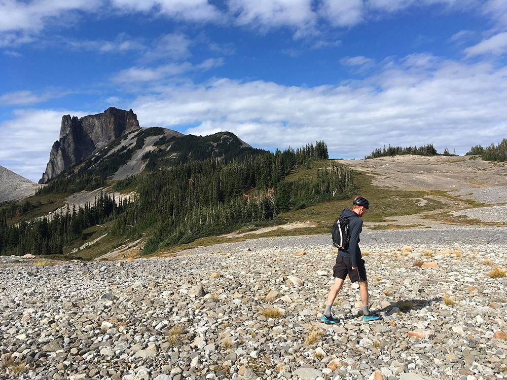 Making my way towards Table Mountain (background) before arriving at Garibaldi lake. Photo: Eric Carter