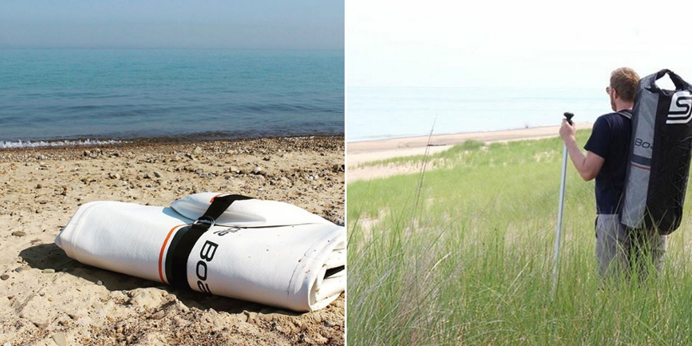 Oscar deflated and rolled up; hiking through the Indiana Dunes State Park, Oscar in tow (Photos courtesy of SJ Paddle Boards)