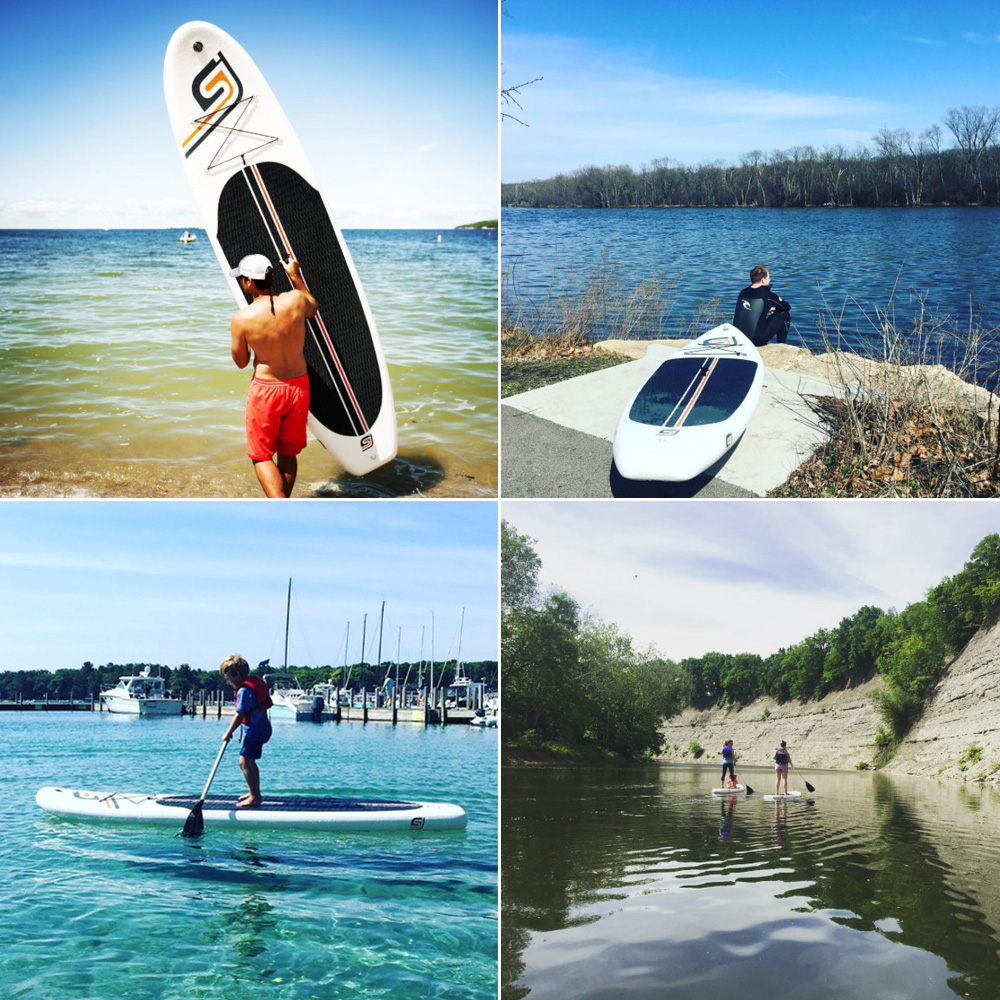 Midwest paddleboarding (clockwise from top left): Lake Michigan in Door County, Wisconsin; Fox River in Geneva, Illinois; Rocky River in Ohio; Harbor Springs, Michigan (Photos courtesy of SJ Paddle Boards)