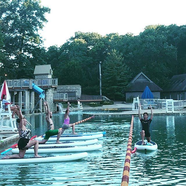 Beautiful night for #supyoga at the Quarry