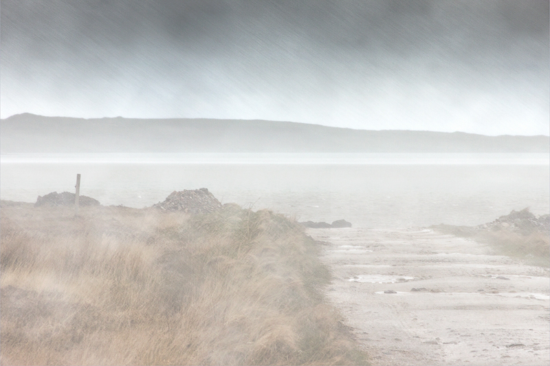 Hail Shower at Vallay Strand by Irene Froy - C (PRINT)