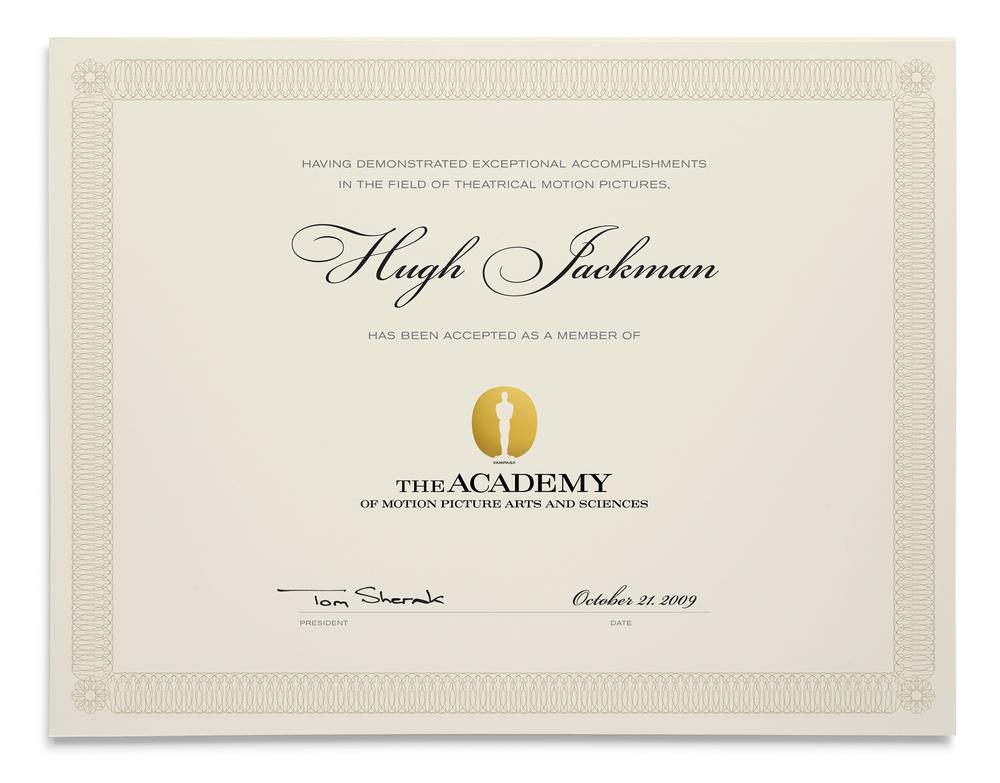 AMPAS Award Certificate