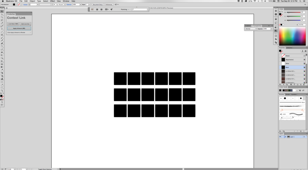 Adobe Illustrator page: draw blank squares that will be swatches
