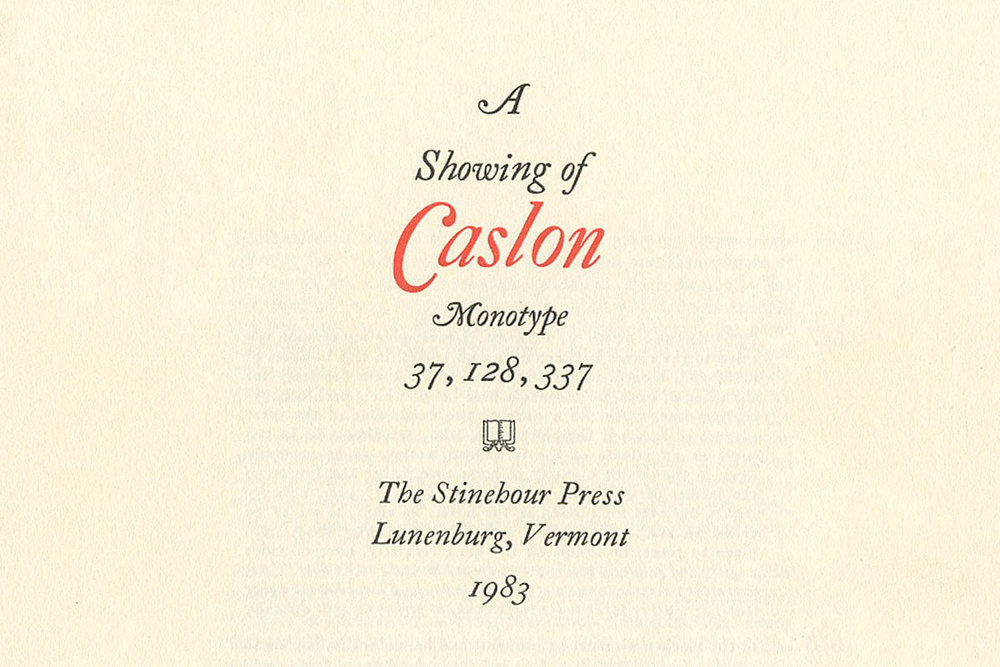 Monotype Caslon, The Stinehour Press, specimen sheet