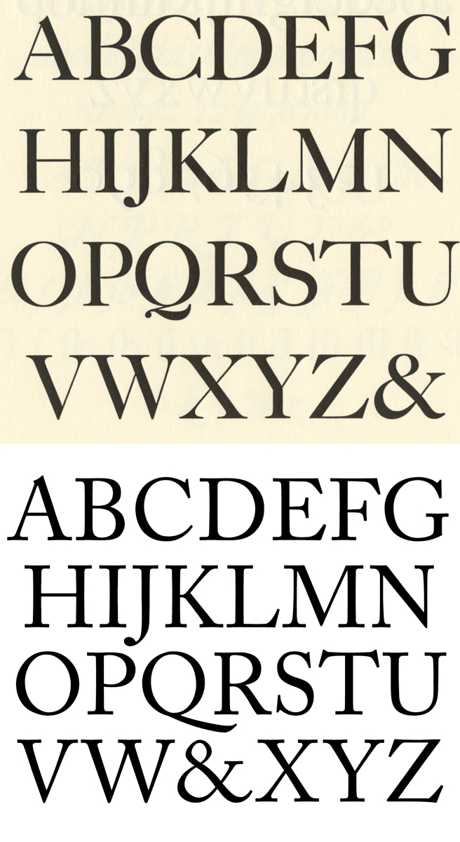 above: Caslon in metal. below: Caslon in digital form