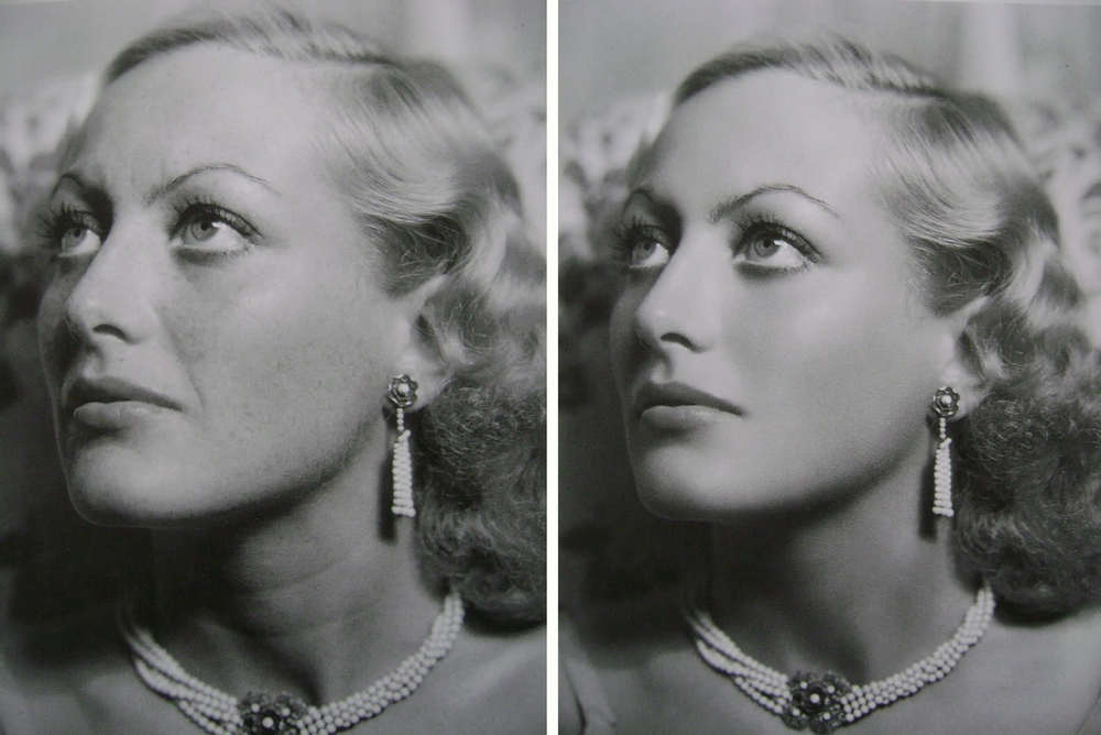 Joan Crawford, unretouched left, retouched right
