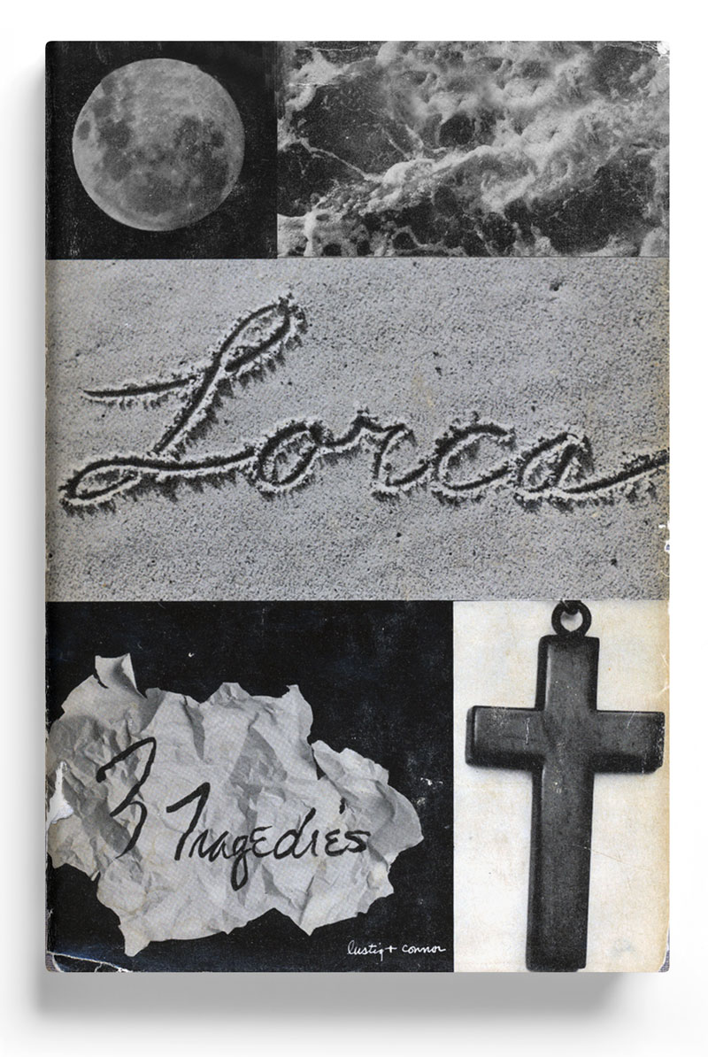 3 Tragedies book cover. Federico García Lorca, author, Alvin Lustig, designer; J. Connor, photographer, 1948