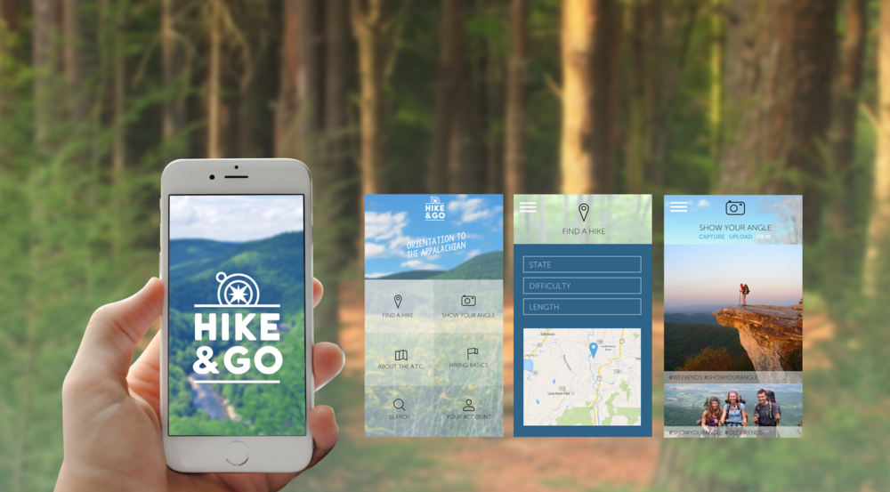 Logo & App Design with social media engagement through #ShowYourAngle to encourage amateur hikers to share their experiences.