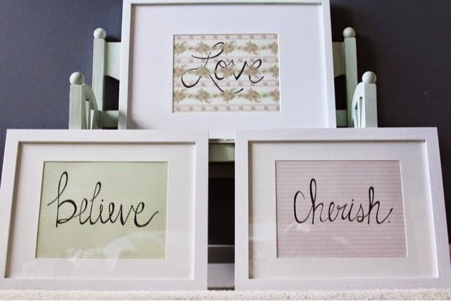 """Love"" ""Believe"" ""Cherish""(8x10)"