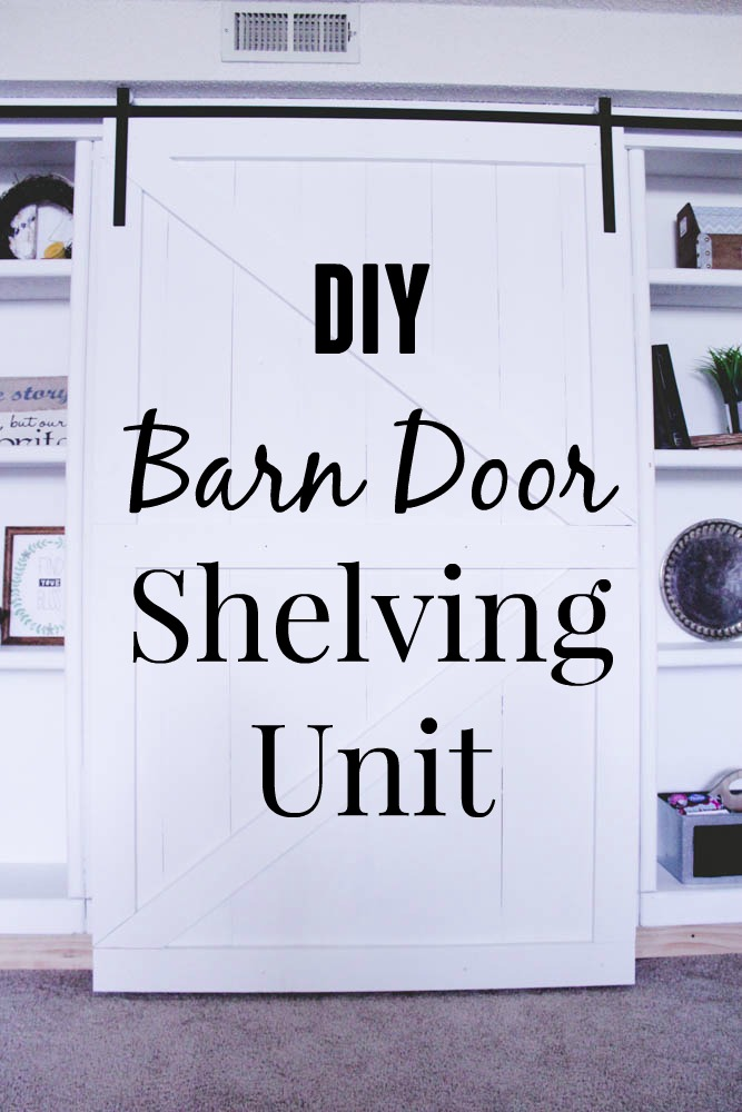 DIY Barn Door Shelving Unit