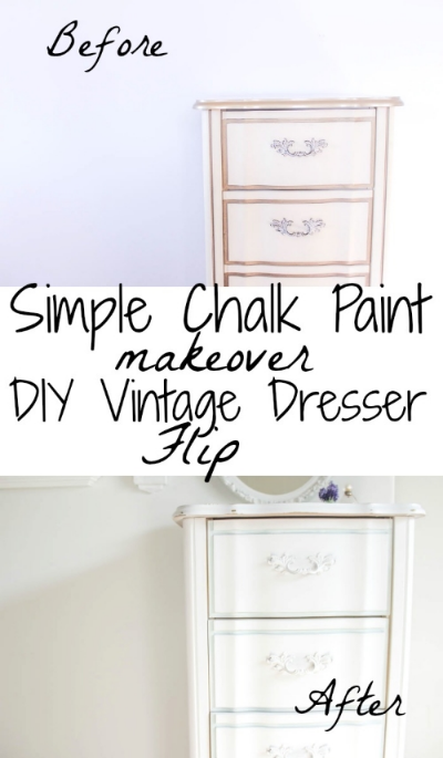 Simple Chalk Paint Makeover: DIY Vintage Dresser Flip
