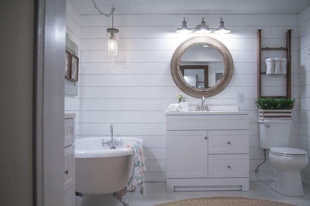 Before and after bathroom remodel with lowes tessa kirby blog for Bath remodel lowes