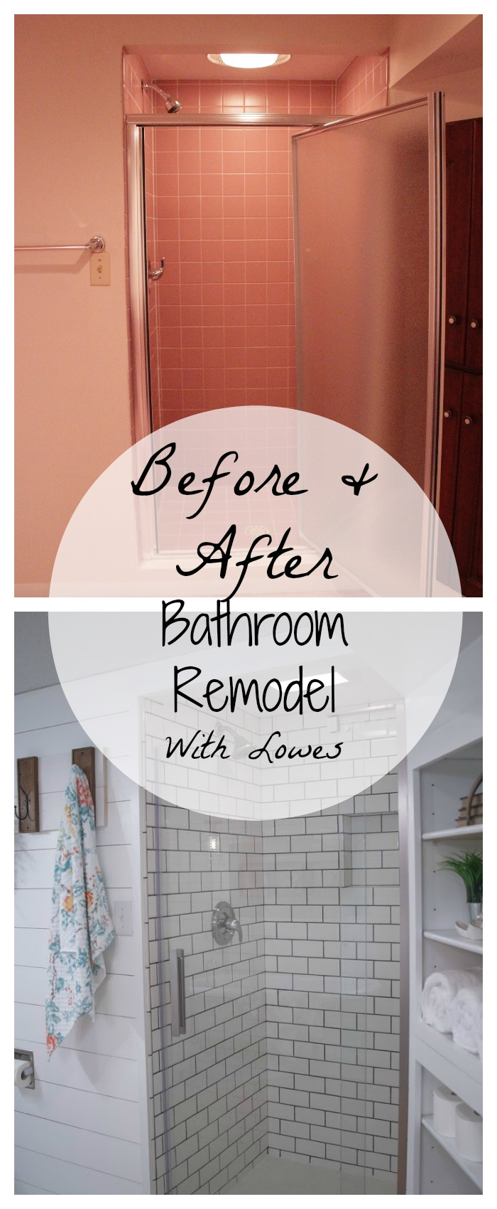 Before and after bathroom remodel with lowes tessa kirby for Bathroom renovation before and after